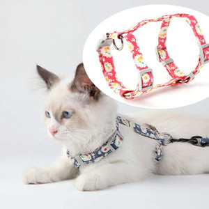 Flower Print Pet Cat Harness Leash Walking Cat Dog pets Collars Leads Safe Travel Cats Supplies Cat Collars Leads will and sandy drop ship