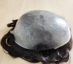 1B # colore nero uomini Toupee PU Pieno pelle sottile sostituzione Toupee dei capelli umani per le parti dei capelli uomini malesi del Virgin umano Trasporto libero!