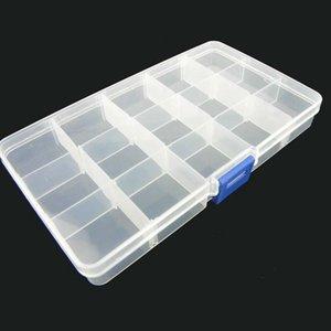 Transparente Ajustável Slots Jóias Bead Organizer Box Storage caixa de armazenamento de jóias de plástico