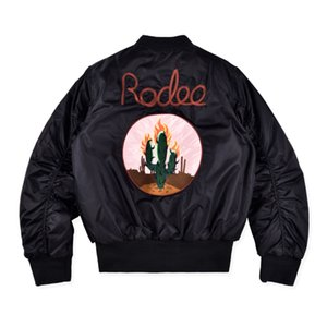 Vestes Mode Hommes Travis Scott Jacket Rodeo Bomber Jacket Broderie Cactus High Street Vestes Casual Outwear S-XL