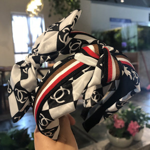 Nova Moda acessórios para o cabelo das mulheres high-end tecido médio floral orelhas de coelho arco de abas largas headband headband faixa de cabelo menina