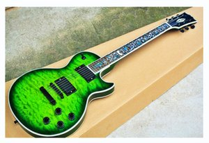 New Top quality FDLP-3058 transparent green color solid body quilted maple veneer pearl inlay fretboard LP electric guitar ,free shipping