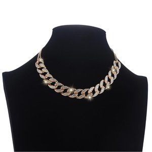 Fashion Iced Out choker Necklace Bling Cuban Link Chain Choker Necklace Women Girls Chains Chocker Luxury Hip Hop Jewelry