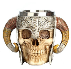 Edelstahl 3D Skeleton Knight Kaffeetasse Horror Halloween Skull Shaped Mug Cup Mit Double Horned Griff Trinkbecher DH1192
