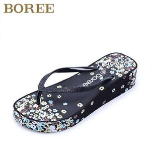 Boree Flower Patterned Women Shoes Wedges Platform Woman Slippers Summer Non-slip Beach Slippers Women Sandals Flip Flops