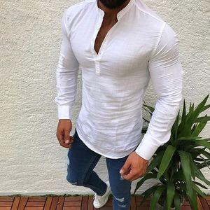 Hommes T-shirt à manches longues mode Solid Button Up V Neck Shirts Printemps Eté affaires chemises en coton Casual T-shirts