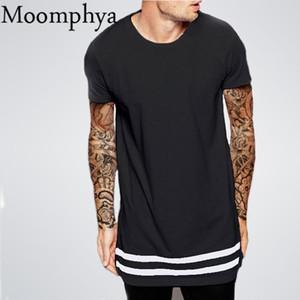 Streetwear Uomini esteso camicia palangaro pantaloni a vita bassa uomini della maglietta a righe della maglietta Homme Long Line T con strisce Hem