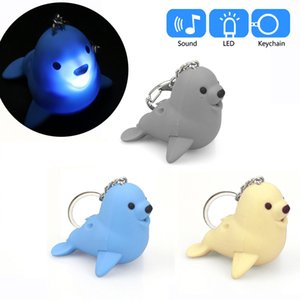 Cute Cartoon Seal Keychain With LED Light And Sound Keyfob Kids Toy illuminate Gift Kids toys for kid gift Cartoon brinquedos