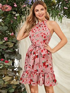 Flora Print Designer para mujer vestidos halter de la manera Fajas vestidos de color natural sin mangas ocasional Dresss ropa de las mujeres