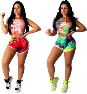 Women Summer 2pcs Sets Outfits Hooded Tank Tops+Shorts Sports Suit Sleeveless Hoodies+Short Pants Tracksuit Tie Dye Clothing DHL Free 963