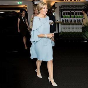 Gelin Modelleri Diz Boyu Scoop Boyun Üç Quarter Kol Basamaklı Ruffles Wedding Guest Elbise Of Tozlu Mavi şifon Anne