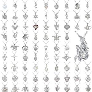 Collar colgante de perlas Jaula Love Wish Perla natural con diseño de mezcla de ostión perla hueca Medallón Collar de difusor de clavícula de cadena