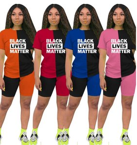 BLACK LIVES MATTER Letters Women T shirt Tee Tops + Shorts Two Piece Sets Outfits Casual Summer Patchwork Tracksuit D6813