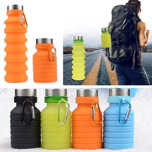 Piegare bottiglie di acqua di sport del silicone 550ML Outdoor flessibili bicchieri per bevande in bicicletta Bottiglie Travel Mug Con alpinismo fibbia 4 colori XD21139