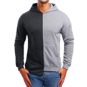 Kontrast-Farben-Männer Designer Hoodies beiläufige lange Hülsen-lose mit Kapuze Asymmetrische Pullover 20AW New Herrenkleidung