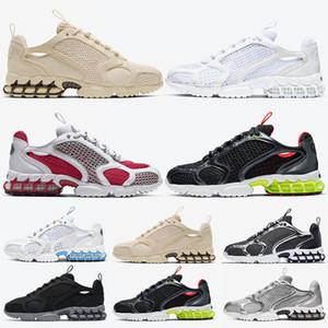 Stussy x Air Zoom Spiridon Cage 2 Stock x Toptan en kaliteli kadın erkek koşu ayakkabı kum üçlü beyaz kardinal kırmızı lemon venon tasarımcı sneakers