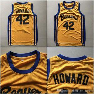 Top del alto de los hombres 42 Scott Howard jerseys Película Baloncesto Beacon castores camisetas amarillas American Film estado versión barata de calidad cosido
