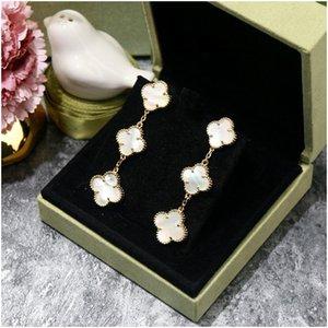 Agoood Pendientes de moda para mujeres Trébol negro Earing Stud 925 Pin de plata esterlina Pendientes de diseño de lujo de alta calidad Mujeres Pendientes