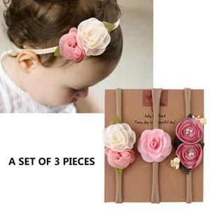 Bandas 3pcs / set Cute Baby Headband Flower Lace Baby Girl Headbands Fotografia recém-nascido Props cabelo acessórios