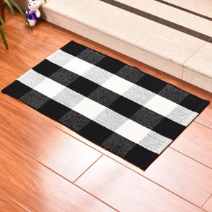 Plaid Cotton Doormat Rugs Tartan Buffalo Checkered Layered Door Mats Outdoor Throw Rugs for Front Porch Entry Way Kitchen Bathroom EEA1352-6