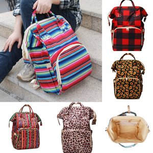 Diaper Mommy Bags Buffalo Plaid Leopard Nappies Maternity Backpacks Mother Nursing Travel Bags Organizer Bag OOA8032