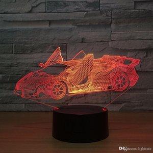 سريع سرعة سيارة رياضية ليلة 3D ضوء الاكريليك لوحة 7 تغيير الألوان مكتب الصمام مصباح طاولة 3D وهم مصابيح للبنين هدايا