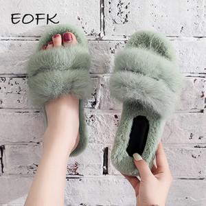 EOFK 2019 New Home do inverno curto Plush Chinelos morno mulheres Indoor Sapatos piso plano zapatos de mujer