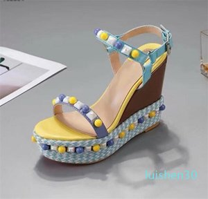 Дизайнеры Red Bottom Сандалии Cataclou Корк Клин обувь Женщины эспадрильи насос лето сандалии серебро блестки покрытые платформы сандалии AL30