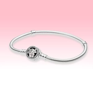 Pink Flower Bloom Clasp Charms Bracelets Women Girls Jewelry for Pandora 925 Sterling Silver Snake Chain Bracelet with Original box
