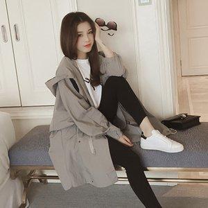 BIUZKO en vrac mince Trench Casual pour les femmes Punk Japan Style Ladies Windbreaker Safari Style Bat manches Designer Manteau d'automne