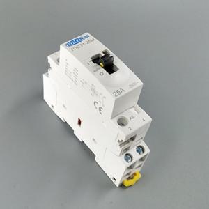 Дешевые контакторы TOCT1 2P 25A 220V/230V 50/60 Гц Din-рейка бытовой ac модульный контактор с ручным переключателем управления 2NO или 1NO 1NC или 2NC