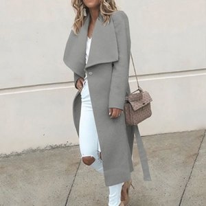 Women Elegant Solid Color Slim Fit Trench Ladies Loose Casual Wool Blend Coat Autumn Winter Warm Long Coat Plus Size 2020 New