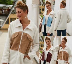 Bavero Contrasto autunno inverno del rivestimento delle donne di colore Zipper Felpa Plush Outerwear