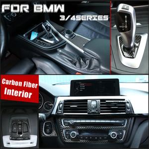 탄소 섬유 색상 기어 시프트 노브 커버 멀티미디어 버튼 패널 커버 트림 스티커를 들어 BMW 3/4 시리즈 F30의 F34 (2,013에서 2,019 사이)
