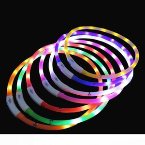 LED Light Collar USB Rechargeable Adjustable Pet Safety Shining Light-up Neckwear for Dogs and Cats Outdoor Multipurpose
