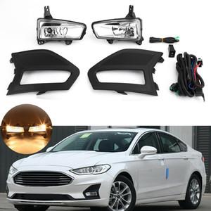 Areyourshop автомобиль галогенный бампер противотуманный фонарь крышка безель жгут комплект подходит для Ford Fusion 2019 автомобильные аксессуары деталей