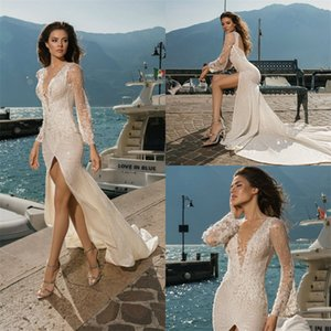 Sexy Mermaid Wedding Dresses High V-neck High-split Backless Full Appliqued Lace Sequins Beaded Bridal Dress Sweep Train Beach Bridal Gown
