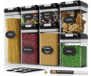Hermético Food Storage Container Set 7 PC Set Etiquetas Marker - Cozinha Organização Pantry Containers BPA Limpar Latas de plástico w