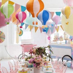 Hot Air Balloon Paper Lanterns for Wedding Birthday Engagement Christmas Party Decoration Stripe Set Pack of 6 Other Event & Party Supplies