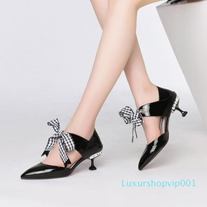 Sexy2019 Xinkuan Xia Spring Crossing Bandage Thin Genuine Leather Fine Cat With Sharp Women's Shoes Cavity Sandals