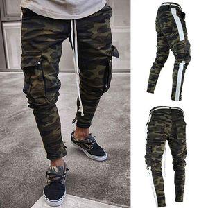 Homens Camuflagem Lápis Designer Jeans Moda bolsos grandes Striped Zipper Jean Pants
