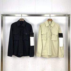 Neue Ankunftmens-Stylist Solid Color Jacke Langarm New Trenchcoat Herren Stylist Taschendekoration dünne Jacken-Mantel-Größe M-2XL