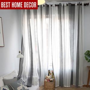 Elka moderna de lino de rayas de tul cortinas de ventana escarpadas de la sala de los dormitorios moderna cortinas de tul de gasa barato
