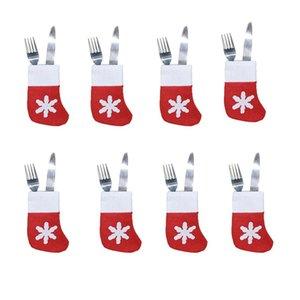 Weihnachtssocken Dekoration Geschirr Halter Süßigkeit-Beutel-Beutel-Messer-Löffel-Gabel-Tasche Weihnachtsstrümpfe Dinner Table Ornament JK1910