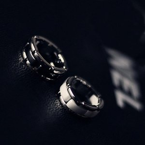 Black white C Letter ceramic inner love ring color silver stainless steel women's men's jewelry couple pair ring --- size 6 to 10