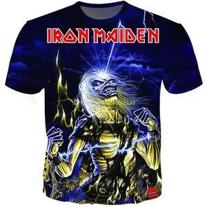 Sıcak 3D Tişörtlü Iron Maiden Baskı T Shirt Erkekler Kadınlar Çiftler tshirt Ağır Metal tişört Kafatası Üst Tee 12 stilleri S-5XL