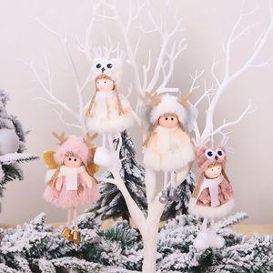 Árvore de Natal Decoração Pingente Mini Xmas Plush Angle Pendant boneca bonito Ornamento de suspensão do partido do presente Home Decor 4 Estilos DHL HH9-2509
