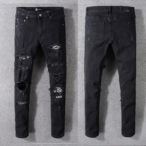 2020 дизайнер high street tide бренд AMIRI хип-хоп джинсы Европейский и американский Amiri брызнул краской цвет промытой дыры вышивка черные брюки