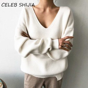 SHIJIA V-neck Loose Sweater for Woman Autumn long-sleevel oversized knitted jumper female 2020 winter knitting pullovers femme