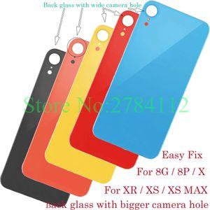 Grand trou Couvercle de la batterie porte arrière du châssis arrière Couvercle de boîtier verre de remplacement pour iPhone 8 8G Plus X XR XS XS MAX